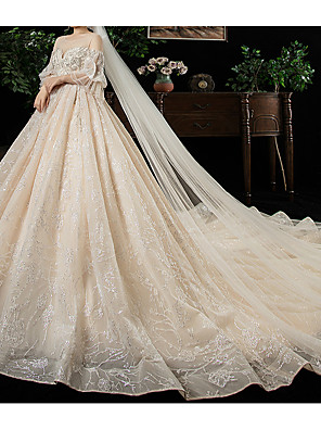 cheap Evening Dresses-Ball Gown Wedding Dresses Jewel Neck Watteau Train Lace Tulle 3/4 Length Sleeve Formal Wedding Dress in Color Plus Size with Lace Lace Insert 2020