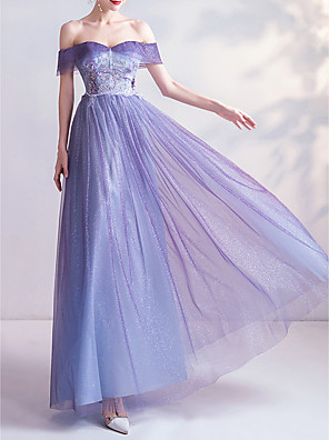 cheap Prom Dresses-A-Line Off Shoulder Floor Length Lace / Tulle Bridesmaid Dress with Appliques