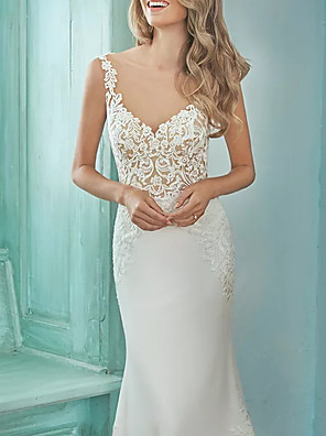 cheap Cocktail Dresses-Mermaid / Trumpet Wedding Dresses V Neck Sweep / Brush Train Lace Polyester Sleeveless Casual Plus Size with Appliques 2020