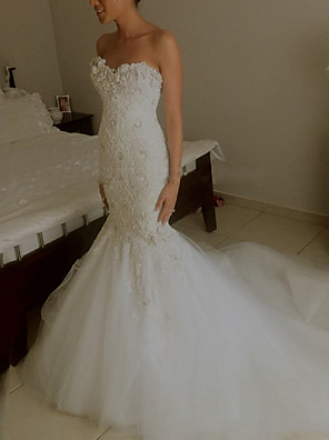 cheap Evening Dresses-Mermaid / Trumpet Wedding Dresses Strapless Sweep / Brush Train Lace Sleeveless Formal with Appliques 2020