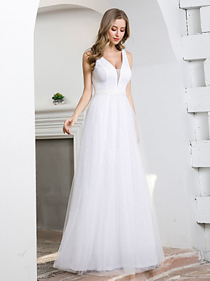 cheap Wedding Dresses-A-Line Wedding Dresses Plunging Neck Floor Length Tulle Sleeveless Simple Elegant with 2020