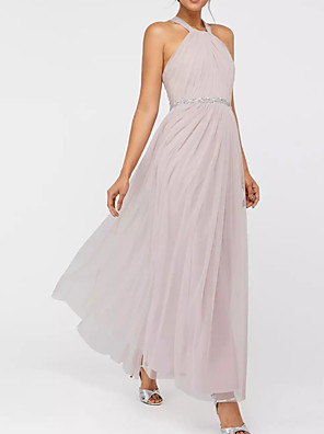 cheap Prom Dresses-A-Line Pink Spring Holiday Prom Dress Halter Neck Sleeveless Floor Length Polyester with Pleats Beading 2020