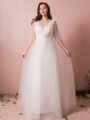 cheap Wedding Dresses-A-Line V Neck Floor Length Lace / Satin / Tulle Half Sleeve Formal Plus Size Wedding Dresses with Pearls / Beading / Appliques 2020 / Illusion Sleeve
