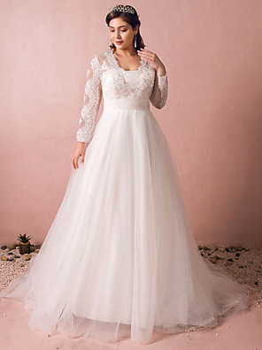cheap Bridesmaid Dresses-A-Line Wedding Dresses Jewel Neck Court Train Lace Satin Tulle Long Sleeve Formal Plus Size Illusion Sleeve with Buttons Ruched Lace Insert 2020 / Sequined
