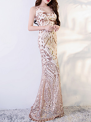 cheap Prom Dresses-Mermaid / Trumpet Sexy Pink Engagement Prom Dress V Neck Sleeveless Sweep / Brush Train Polyester with Sequin Appliques 2020