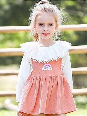 cheap Girls' Dresses-Kids Girls' Color Block Dress Blushing Pink