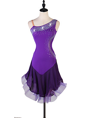 cheap Evening Dresses-Latin Dance Dress Crystals / Rhinestones Women's Performance Sleeveless Organza Spandex