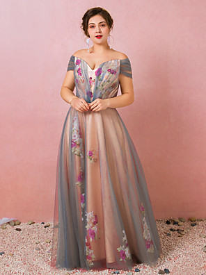 cheap Evening Dresses-A-Line Floral Pink Prom Formal Evening Dress Off Shoulder Short Sleeve Floor Length Satin Tulle with Pattern / Print 2020