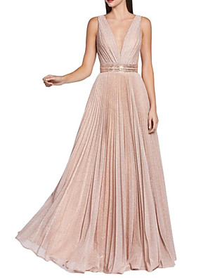 cheap Prom Dresses-A-Line Sparkle Pink Wedding Guest Prom Dress V Neck Sleeveless Floor Length Sequined with Sash / Ribbon Pleats Sequin 2020