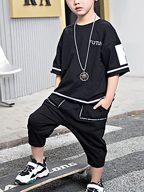 cheap Boys' Tops-Kids Boys' Active Daily Wear Black & White Geometric Print Short Sleeve Regular Regular Clothing Set White
