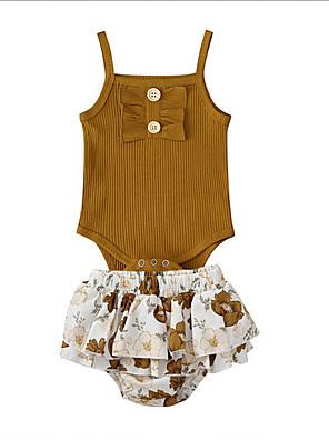 cheap Baby Girls' One-Piece-Baby Girls' Basic Floral Sleeveless Regular Clothing Set Khaki / Toddler