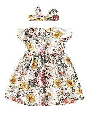cheap Baby Girls' One-Piece-Baby Girls' Basic Floral Sleeveless Dress White