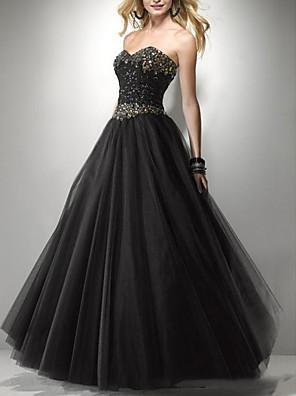 cheap Wedding Dresses-A-Line Wedding Dresses Strapless Floor Length Tulle Sleeveless Formal Black with Beading 2020