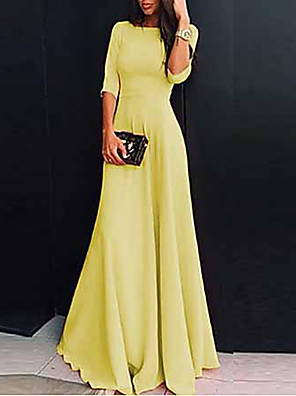cheap Party Dresses-Women's Maxi Sheath Dress - Half Sleeve Solid Colored V Neck Elegant Slim White Black Purple Red Yellow Blushing Pink Green Navy Blue Light Blue S M L XL XXL