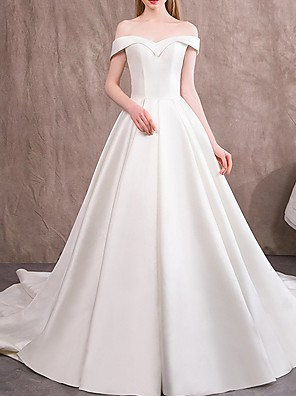 cheap Wedding Dresses-A-Line Off Shoulder Sweep / Brush Train Satin Cap Sleeve Vintage Wedding Dresses with Draping 2020
