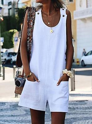 cheap Leggings-Women's Basic Casual Beach U Neck White Black Yellow Jumpsuit Solid Colored Pocket Button / Wide Leg