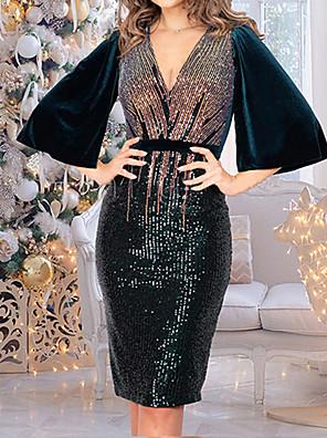 cheap Mini Dresses-Women's Sheath Dress - Half Sleeve Color Block Deep V Wine Green S M L XL XXL
