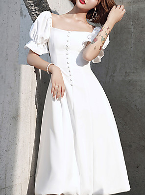 cheap Bridesmaid Dresses-A-Line Vintage White Holiday Cocktail Party Dress Scoop Neck Short Sleeve Knee Length Spandex with Buttons 2020