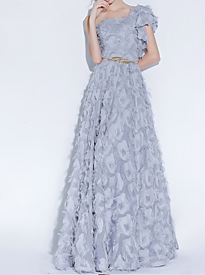 cheap Prom Dresses-A-Line Luxurious Grey Engagement Prom Dress One Shoulder Sleeveless Floor Length Polyester with Sash / Ribbon Appliques 2020