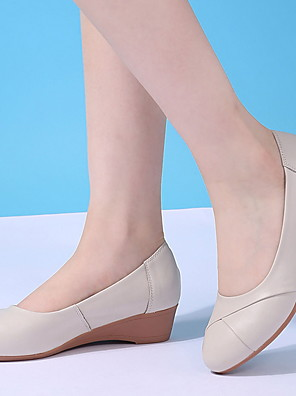 cheap Women's Skirts-Women's Loafers & Slip-Ons Wedge Heel Round Toe Cowhide Spring Black / Beige / Gray