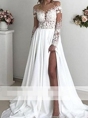 cheap Bridesmaid Dresses-A-Line Wedding Dresses Off Shoulder Sweep / Brush Train Polyester Long Sleeve Country Plus Size with Appliques Split Front 2020