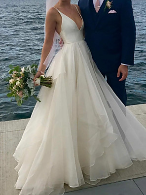 cheap Prom Dresses-A-Line Wedding Dresses V Neck Floor Length Polyester Sleeveless Formal Plus Size with Draping 2020