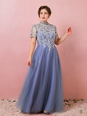 cheap Plus Size Dresses-A-Line Chinese Style Blue Prom Formal Evening Dress High Neck Short Sleeve Floor Length Lace Satin Tulle with Pleats Appliques 2020