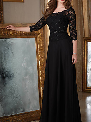 cheap Prom Dresses-A-Line Elegant Black Wedding Guest Formal Evening Dress Scoop Neck Half Sleeve Floor Length Chiffon with Beading Appliques 2020