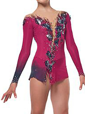cheap Ice Skating Dresses , Pants & Jackets-Figure Skating Dress Women's Girls' Ice Skating Dress Red Spandex High Elasticity Training Competition Skating Wear Crystal / Rhinestone Long Sleeve Ice Skating Figure Skating