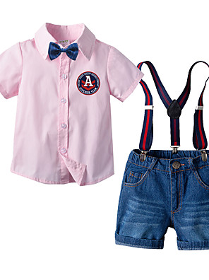 cheap Boys' Clothing Sets-Kids Boys' Basic Birthday Party Party & Evening Solid Colored Short Sleeve Regular Regular Clothing Set Blushing Pink