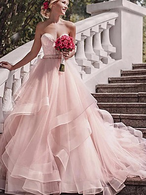 cheap Wedding Dresses-Ball Gown Wedding Dresses Strapless Court Train Lace Tulle Strapless Sexy Wedding Dress in Color Plus Size with Lace 2020
