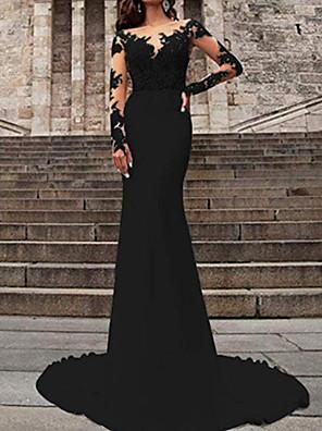 cheap Wedding Dresses-Mermaid / Trumpet Wedding Dresses V Neck Sweep / Brush Train Polyester Long Sleeve Formal Plus Size Black Modern with Ruffles Draping 2020