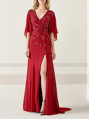 cheap Evening Dresses-A-Line Sexy Red Wedding Guest Formal Evening Dress V Neck Half Sleeve Sweep / Brush Train Chiffon with Beading Draping Split 2020
