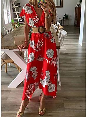 cheap Evening Dresses-Women's Maxi A Line Dress - Short Sleeves Print Floral Spring Summer V Neck Beach Belt Not Included Blue Red Yellow Green S M L XL XXL