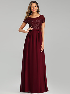 cheap Bridesmaid Dresses-A-Line Jewel Neck Floor Length Chiffon Bridesmaid Dress with Sash / Ribbon / Sequin / Sparkle & Shine