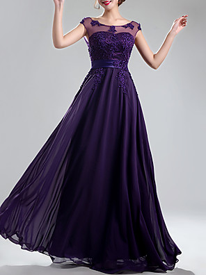 cheap Prom Dresses-A-Line Empire Purple Wedding Guest Formal Evening Dress Illusion Neck Sleeveless Floor Length Chiffon with Appliques 2020