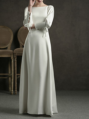 cheap Wedding Dresses-Sheath / Column Wedding Dresses Jewel Neck Floor Length Satin Long Sleeve Simple Elegant with Bow(s) 2020 / Bishop Sleeve