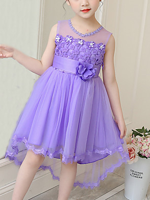 cheap Flower Girl Dresses-Kids Girls' Cute Floral Bow Mesh Patchwork Sleeveless Knee-length Dress White