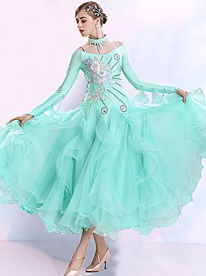 cheap Prom Dresses-Ballroom Dance Dress Embroidery Split Joint Crystals / Rhinestones Women's Training Performance Long Sleeve Organza Spandex