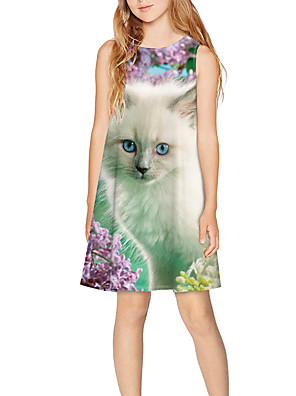 cheap Girls' Dresses-Kids Girls' Basic Cute Animal Print Sleeveless Above Knee Dress Rainbow