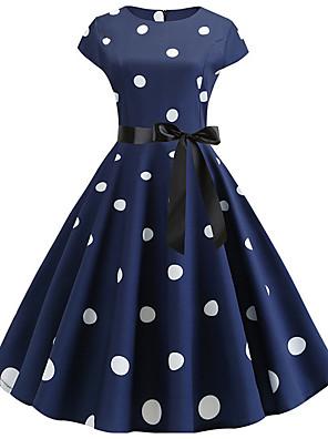cheap Evening Dresses-Women's A Line Dress - Short Sleeves Polka Dot Pleated Vintage Black Blue Red Navy Blue S M L XL XXL