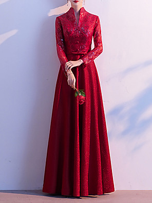 cheap Evening Dresses-A-Line Chinese Style Red Party Wear Formal Evening Dress High Neck Long Sleeve Floor Length Sequined with Buttons Embroidery 2020