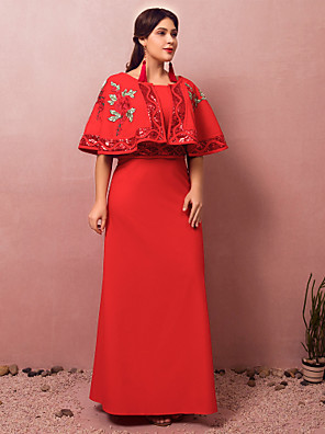 cheap Mother of the Bride Dresses-A-Line Chinese Style Red Engagement Formal Evening Dress Jewel Neck Half Sleeve Floor Length Spandex with Sequin Embroidery 2020