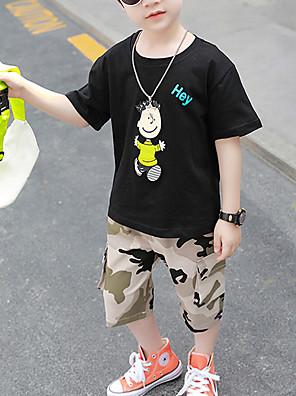 cheap Boys' Clothing Sets-Kids Toddler Boys' Active Casual / Daily Black & White Print Cartoon Print Short Sleeve Clothing Set White