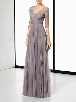 cheap Evening Dresses-Sheath / Column Elegant Grey Wedding Guest Formal Evening Dress V Neck Half Sleeve Floor Length Chiffon with Pleats Lace Insert 2020