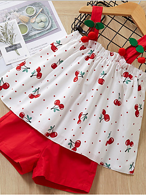 cheap Girls' Dresses-Kids Girls' Basic Geometric Sleeveless Clothing Set Red