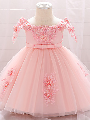 cheap Girls' Dresses-Baby Girls' Active Basic Solid Colored Lace Trims Short Sleeve Knee-length Dress Blushing Pink