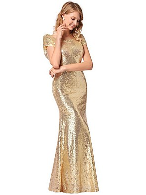 cheap Maxi Dresses-Women's Maxi Trumpet / Mermaid Dress - Short Sleeves Solid Color Sequins Summer Fall Glitters Party Evening 2020 Gold S M L XL XXL