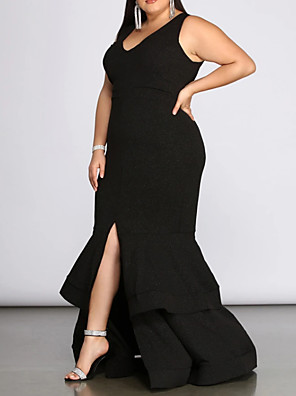 cheap Prom Dresses-Mermaid / Trumpet Plus Size Prom Formal Evening Dress V Neck Sleeveless Floor Length Spandex with Pleats Ruffles Split 2020