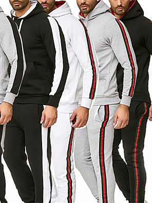 cheap Gymnastics-Men's Tracksuit Winter Red / black Black / Silver Black with White Cotton Yoga Fitness Gym Workout Clothing Suit Long Sleeve Sport Activewear Thermal / Warm Quick Dry